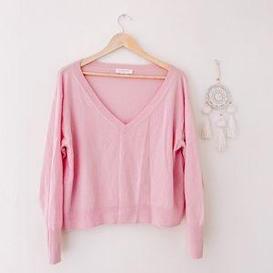 EVERLANE Cashmere V-Neck Sweater size Large Pink